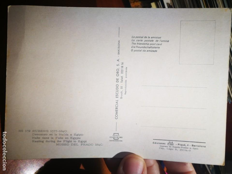 Postales: Postal Rubens 1577 - 1640 Descanso en la huida a Egipto Museo del Prado N 172 ESCUDO DE ORO S/C - Foto 2 - 198591472