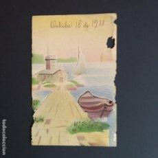 Postales: POSTAL ANTIGUA RELIEVE DIBUJO BARCO 1911 (P271). Lote 198752675