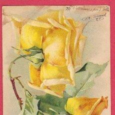 Postales: AE390 FLOR FLORES ROSAS AMARILLAS POSTAL FIRMADA. Lote 208380546