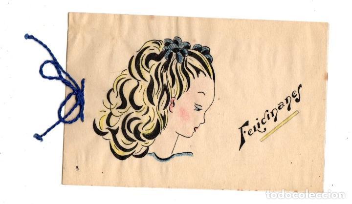 TARJETA POSTAL FELICITACION CON ESCENA INFANTIL DIBUJADA A MANO. C. 1960 (Postales - Postales Temáticas - Dibujos originales y Grabados)