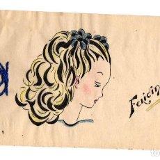 Postales: TARJETA POSTAL FELICITACION CON ESCENA INFANTIL DIBUJADA A MANO. C. 1960. Lote 213624158