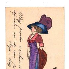 Postales: TARJETA POSTAL CON ESCENA DIBUJADA A MANO. AÑO 1912. Lote 213861296