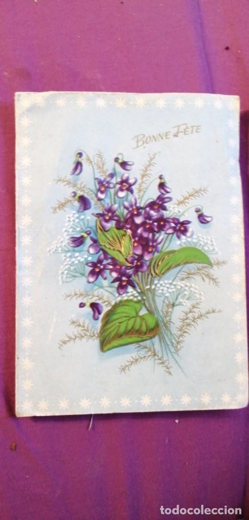 TARJETA POSTAL FLORES TRIDIMENSIONAL BONNE FETE (Postales - Postales Temáticas - Dibujos originales y Grabados)