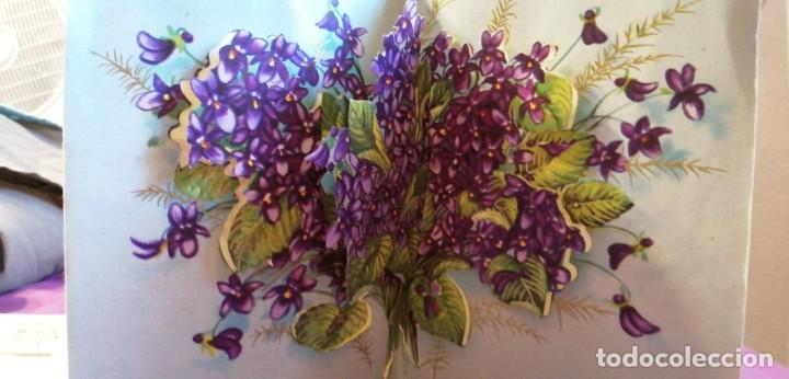 Postales: Tarjeta postal flores tridimensional bonne fete - Foto 2 - 217061267