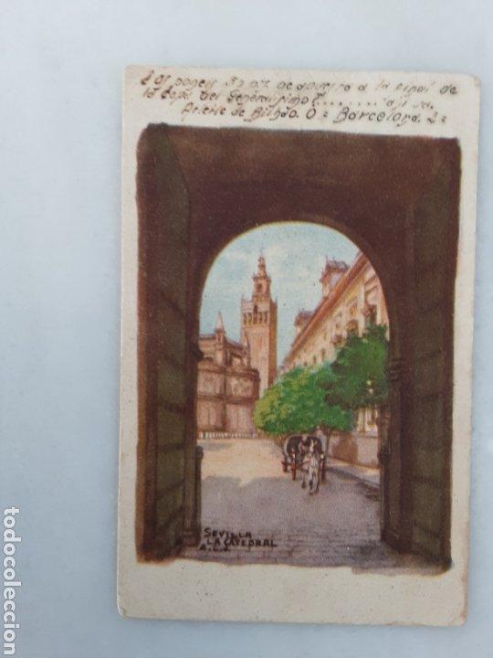 ANTIGUA TARJETA POSTAL PINTADA SEVILLA LA CATEDRAL CIRCULADA 1942 (Postales - Postales Temáticas - Dibujos originales y Grabados)