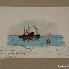 Postales: POSTAL CON MARINA DIBUJO ORIGINAL FIRMADO. 1902. Lote 219311045
