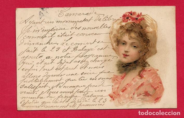 AE986 JOVEN MUJER GUAPA CON UN SOMBRERO FLORIDO DE AMAPOLAS VERANO (Postales - Postales Temáticas - Dibujos originales y Grabados)