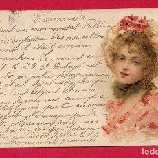Postales: AE986 JOVEN MUJER GUAPA CON UN SOMBRERO FLORIDO DE AMAPOLAS VERANO. Lote 220628205