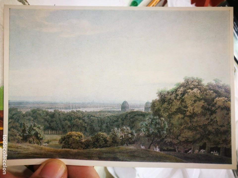 POSTAL J. R. COZENS 1752 - 1797 WIEW OF LONDON AND THAME FROM GREENWICH WATERCOLOUR COURTAULD INSTIT (Postales - Postales Temáticas - Dibujos originales y Grabados)