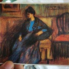 Postales: POSTAL PABLO RUIZ PICASSO LA MUJER DEL CHAL DIBUJO AL LAPIZ CINTE REALZADO EN COLOR MUSEO DE ARTE BA. Lote 220764245