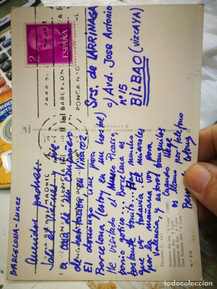 Postales: Postal PICASSO Interior de los 4 Gats 1899 N 273 La POLIGRAFA escrita y sellada - Foto 2 - 220772793