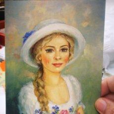 Postales: POSTAL NIÑA CON FLORES JOLANTA BOREK UNIKOWSKA PINTORA CON LA BOCA S/C. Lote 221133662