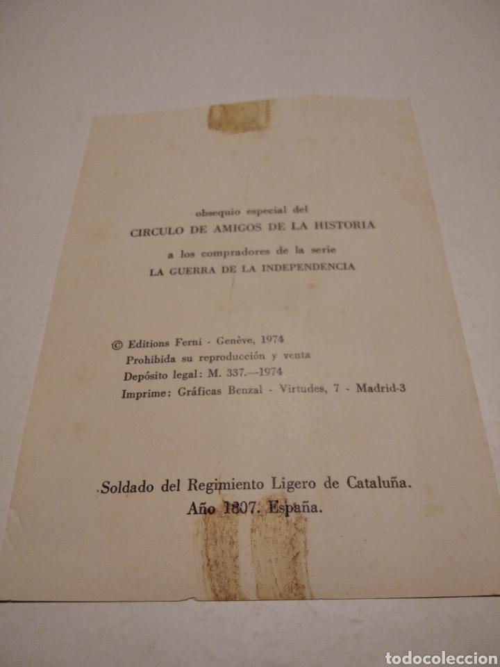 Postales: Soldado del Regimiento ligero de Cataluña, tarjeta obsequio - Foto 2 - 222082808
