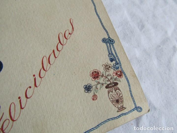 Postales: 2 felicitaciones dibujadas a mano en 1948, Pepito Grillo y Pato Donald - Foto 4 - 227885020