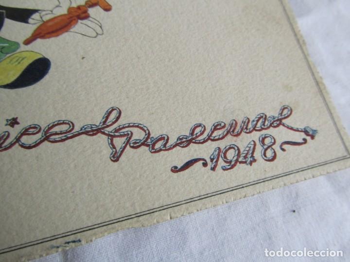 Postales: 2 felicitaciones dibujadas a mano en 1948, Pepito Grillo y Pato Donald - Foto 6 - 227885020