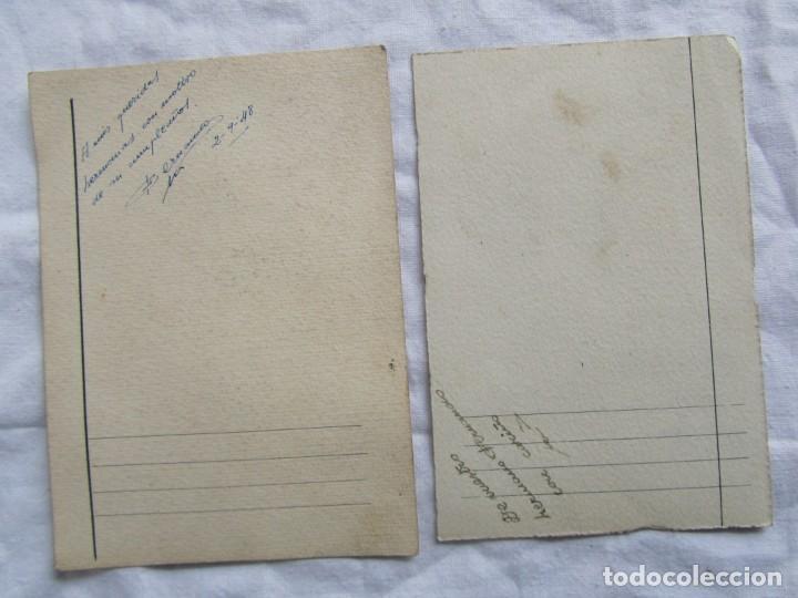 Postales: 2 felicitaciones dibujadas a mano en 1948, Pepito Grillo y Pato Donald - Foto 7 - 227885020