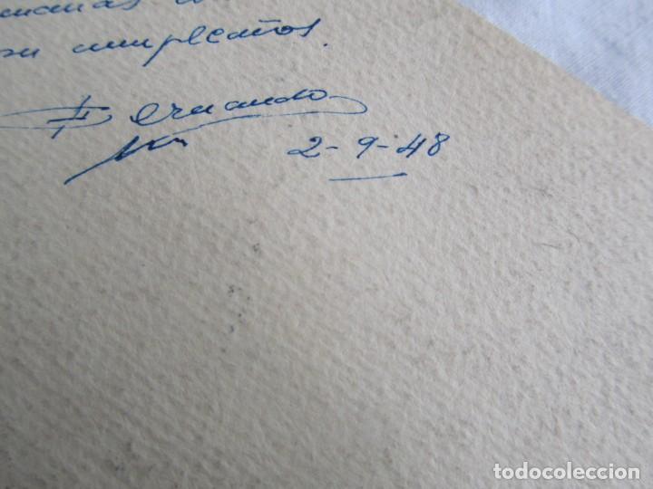 Postales: 2 felicitaciones dibujadas a mano en 1948, Pepito Grillo y Pato Donald - Foto 8 - 227885020