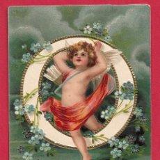 Postales: AE885 ANGEL ANGELITO ABECEDARIO ALFABETO LETRA O CON FLORES POSTAL EN RELIEVE GOFRADA FECHA 1908. Lote 228791315