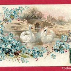 Postales: AF6 ANIMALES PAJAROS AVES BIRDS PAREJA DE CISNES FLORES POSTAL GOFRADA. Lote 229170030