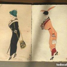 Postales: ANTIGUAS POSTALES ACUARELAS DIBUJO MODA RAMON PICO 1911. Lote 248082470