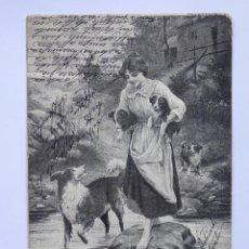 Postales: P-12458. AMIGA DE LOS PERROS. ANTIGUA POSTAL ITALIANA AÑO 1903. CIRCULADA.. Lote 251333435