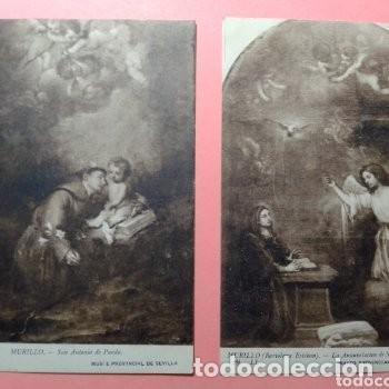 LOTE DOS POSTALES ANTIGUAS DE CUADROS DE MURILLO, MUSEO PROVINCIAL DE SEVILLA SIN CIRCULAR (Postales - Postales Temáticas - Dibujos originales y Grabados)