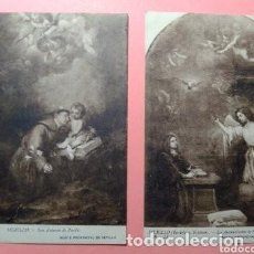 Postales: LOTE DOS POSTALES ANTIGUAS DE CUADROS DE MURILLO, MUSEO PROVINCIAL DE SEVILLA SIN CIRCULAR. Lote 256011865