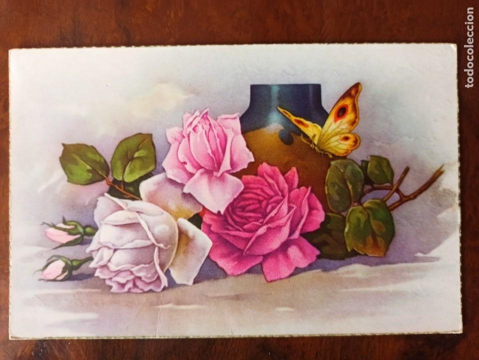 POSTAL FLORES 1956 ESCRITA SIN SELLO (Postales - Postales Temáticas - Dibujos originales y Grabados)