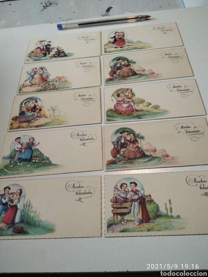 10 TARJETAS FELICIDADES, REGIONES DE ESPAÑA (Postales - Postales Temáticas - Dibujos originales y Grabados)