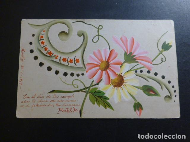 FLORES POSTAL PINTADA A MANO 1909 (Postales - Postales Temáticas - Dibujos originales y Grabados)