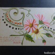 Postales: FLORES POSTAL PINTADA A MANO 1909. Lote 265409689