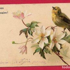 Postales: AF42 PAJAROS AVES RUISENOR Y FLORES POSTAL FIRMADA DE 1905. Lote 269068928