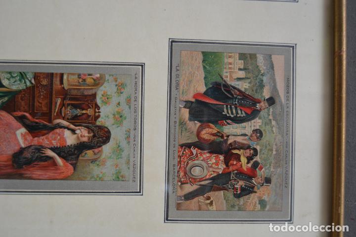 Postales: 6 postales la gloria, galletas y bizcochos. Cuadros de Carlos Vázquez. Marco: 44x38cm. - Foto 2 - 269225078