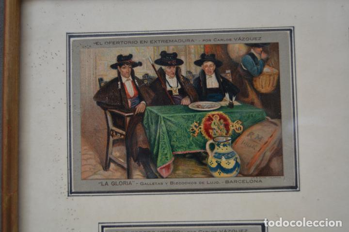 Postales: 6 postales la gloria, galletas y bizcochos. Cuadros de Carlos Vázquez. Marco: 44x38cm. - Foto 3 - 269225078