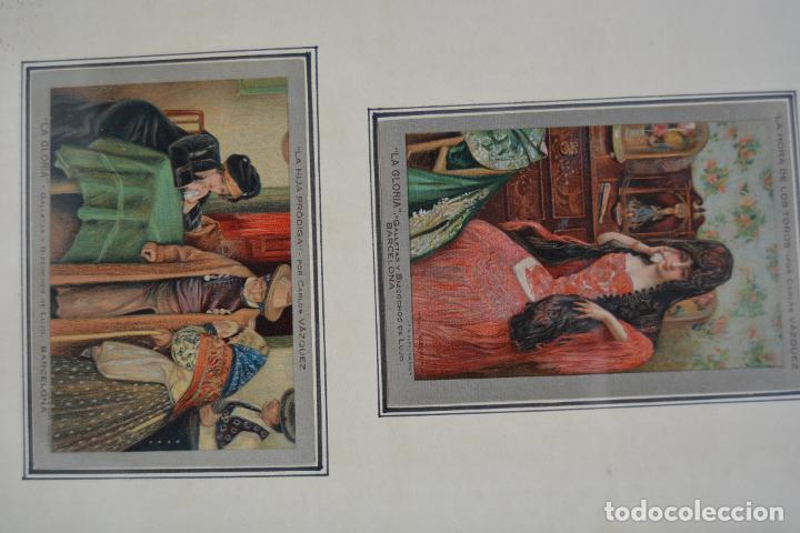 Postales: 6 postales la gloria, galletas y bizcochos. Cuadros de Carlos Vázquez. Marco: 44x38cm. - Foto 4 - 269225078