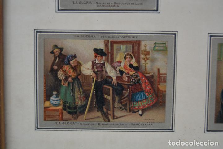 Postales: 6 postales la gloria, galletas y bizcochos. Cuadros de Carlos Vázquez. Marco: 44x38cm. - Foto 5 - 269225078