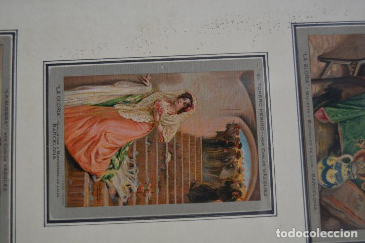 Postales: 6 postales la gloria, galletas y bizcochos. Cuadros de Carlos Vázquez. Marco: 44x38cm. - Foto 6 - 269225078