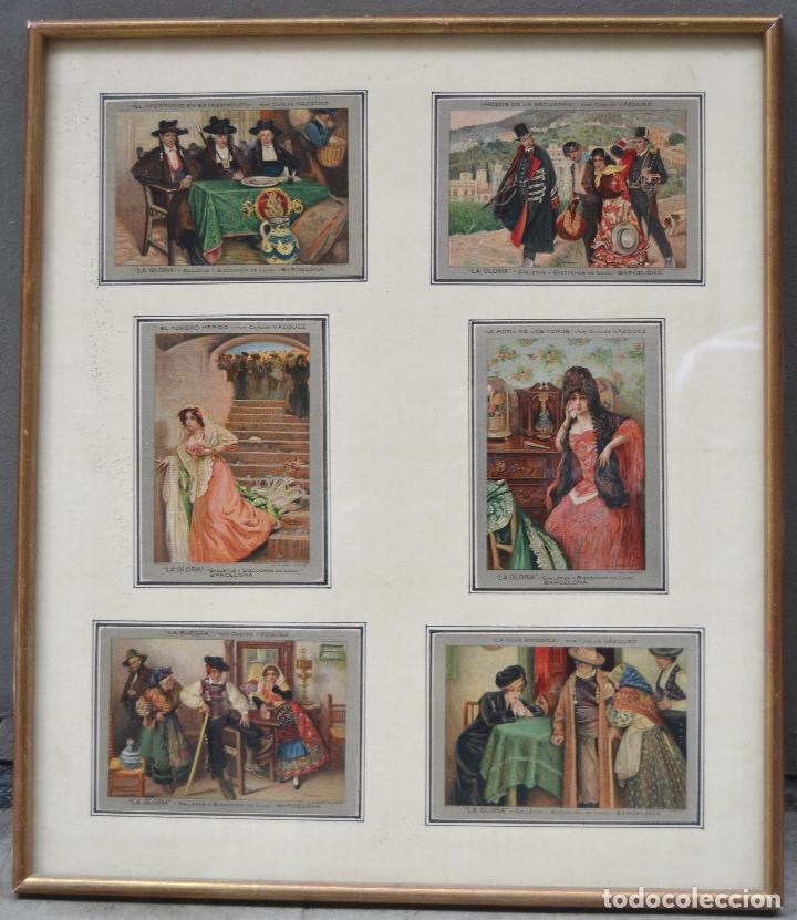 6 POSTALES LA GLORIA, GALLETAS Y BIZCOCHOS. CUADROS DE CARLOS VÁZQUEZ. MARCO: 44X38CM. (Postales - Postales Temáticas - Dibujos originales y Grabados)
