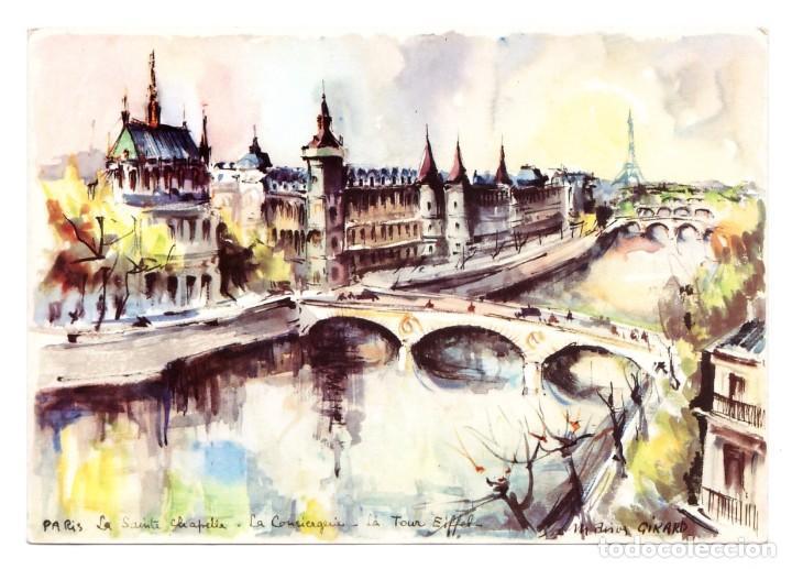 PARÍS (FRANCIA) - ACUARELA DE MARIUS GIRARD - SIN CIRCULAR (Postales - Postales Temáticas - Dibujos originales y Grabados)