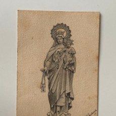 Postales: DIBUJO RELIGIOSO A LÁPIZ POR SANTIAGO ALIAGA SERRANO , EN TARJETA POSTAL SIN DIVIDIR. Lote 277618433