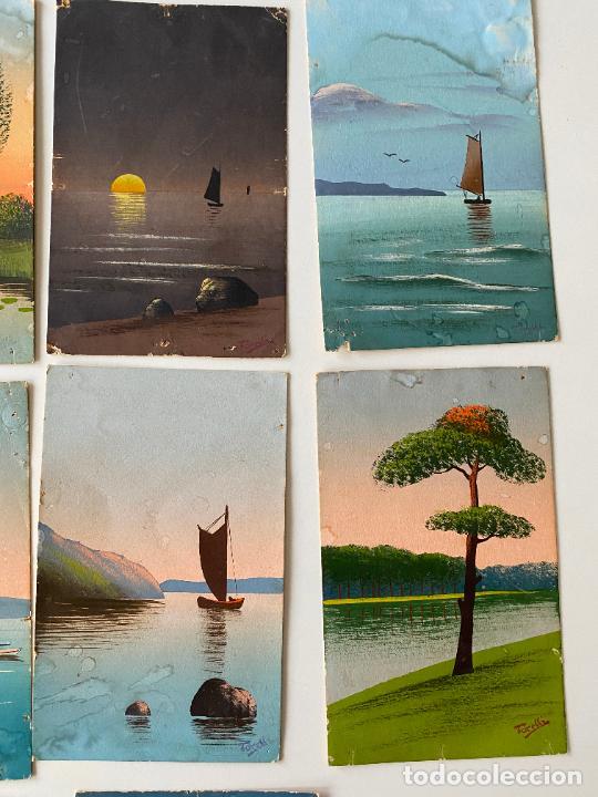 Postales: 10 POSTALES PINTADAS A MANO POR TORELLI , HANDGEMALTE POSTKARTE , GOUACHE ORIGINAL - Foto 2 - 277625053