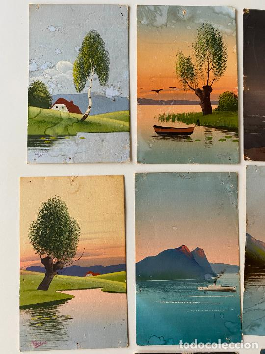 Postales: 10 POSTALES PINTADAS A MANO POR TORELLI , HANDGEMALTE POSTKARTE , GOUACHE ORIGINAL - Foto 3 - 277625053