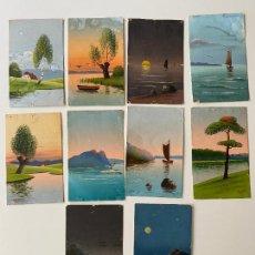Postales: 10 POSTALES PINTADAS A MANO POR TORELLI , HANDGEMALTE POSTKARTE , GOUACHE ORIGINAL. Lote 277625053