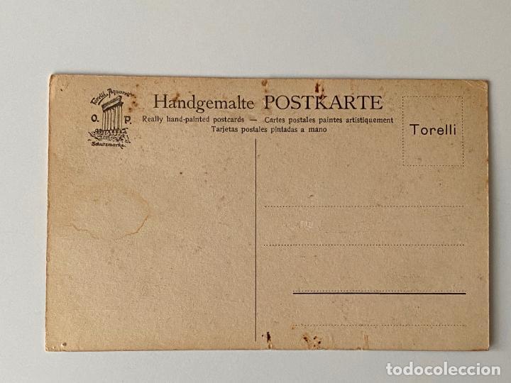 Postales: 10 POSTALES PINTADAS A MANO POR TORELLI , HANDGEMALTE POSTKARTE , GOUACHE ORIGINAL - Foto 4 - 277625298