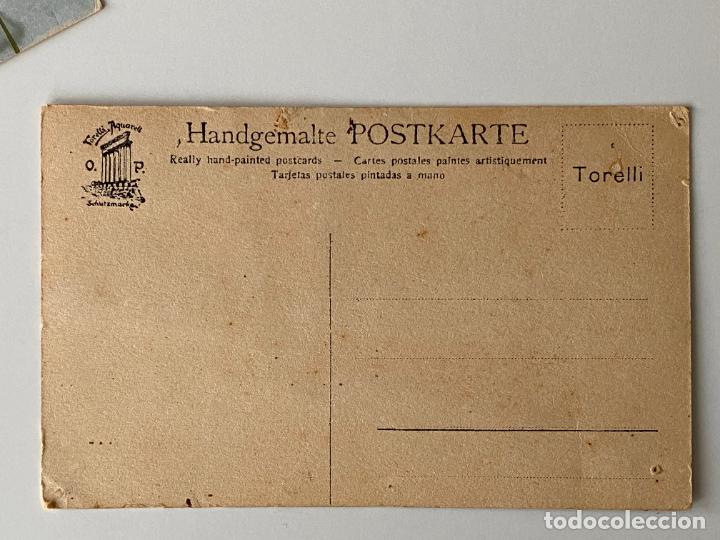Postales: 12 POSTALES PINTADAS A MANO POR TORELLI , HANDGEMALTE POSTKARTE , GOUACHE ORIGINAL - Foto 8 - 277625693