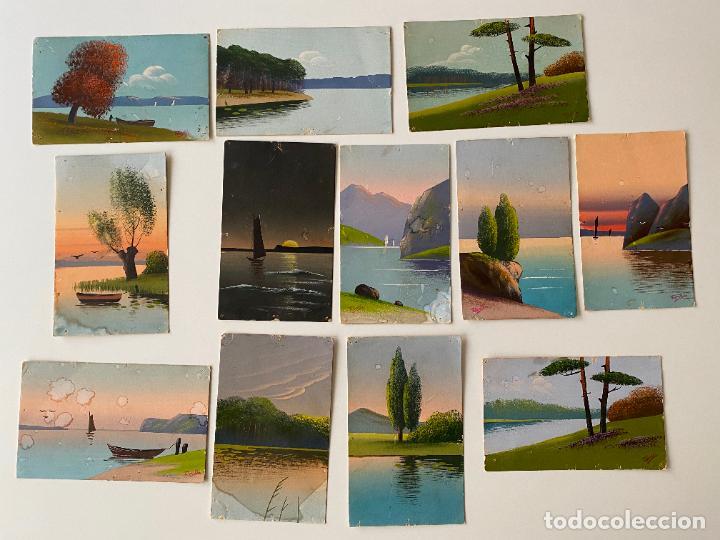 12 POSTALES PINTADAS A MANO POR TORELLI , HANDGEMALTE POSTKARTE , GOUACHE ORIGINAL (Postales - Postales Temáticas - Dibujos originales y Grabados)