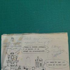 Postales: 1986 FELICITACIONES FIRMADO CHISTE DIBUJO ORIGINAL LUGO COLEGIO ANTONIO PEDROSA LATAS VIVERO. Lote 287245333
