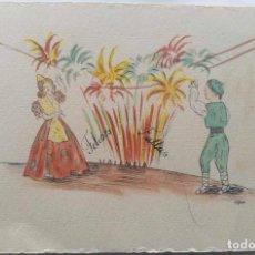 Postales: VALENCIA ILUSTRACIÓN ORIGINAL FIESTAS SAN JOSE FALLAS NYMA TAMAÑO 10,5 X 16 CM.. Lote 287876268