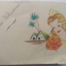 Postales: VALENCIA ILUSTRACIÓN ORIGINAL FIESTAS SAN JOSE FALLAS NYMA TAMAÑO 10,5 X 16 CM.. Lote 287876283