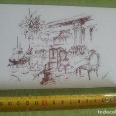 Postales: COMEDOR - RESTAURANTE - BOCETO - DIBUJO - PLAZAS DE SAN LORENZO DEL ESCORIAL - F.BERNANDINO. Lote 288042388